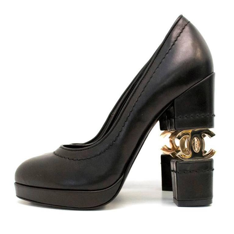 Chanel Black with Gold CC Logo 'Escarpin' Platform Heels 2