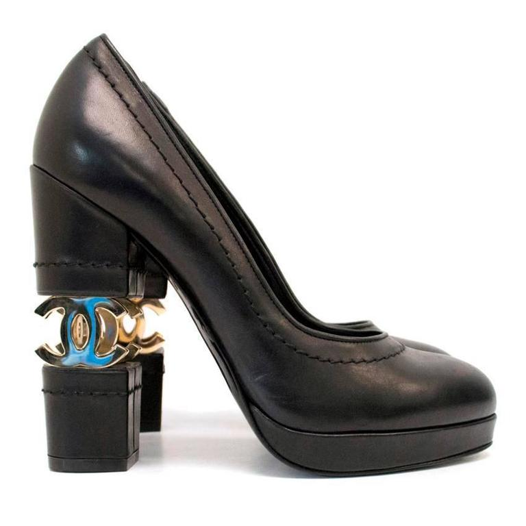 Chanel Black with Gold CC Logo 'Escarpin' Platform Heels 3