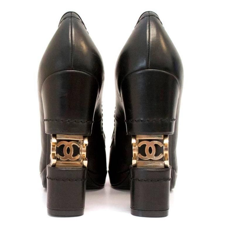 Chanel Black with Gold CC Logo 'Escarpin' Platform Heels 4