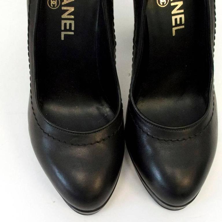 Chanel Black with Gold CC Logo 'Escarpin' Platform Heels 5