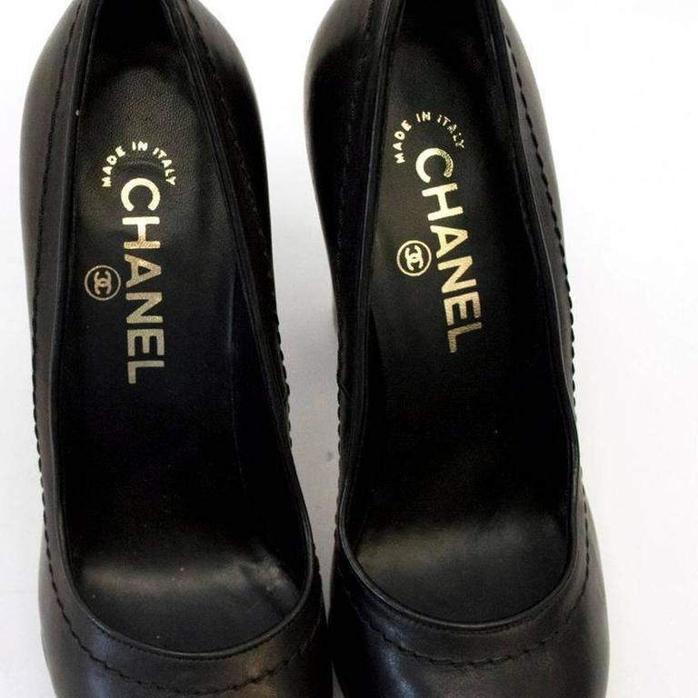 Chanel Black with Gold CC Logo 'Escarpin' Platform Heels 6