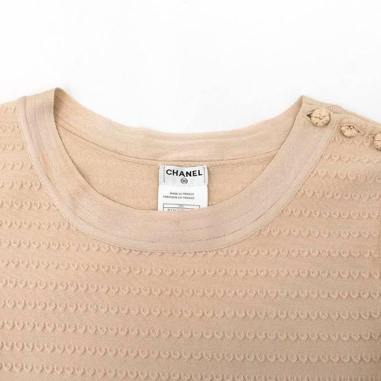 Women's Chanel Nude Pleated Dress For Sale