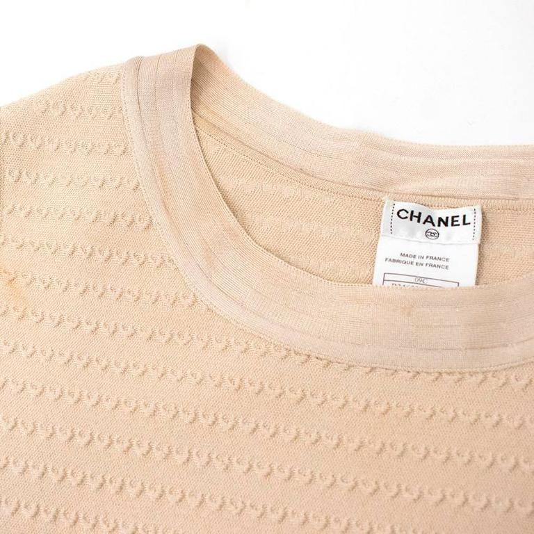 Chanel Nude Pleated Dress For Sale 1