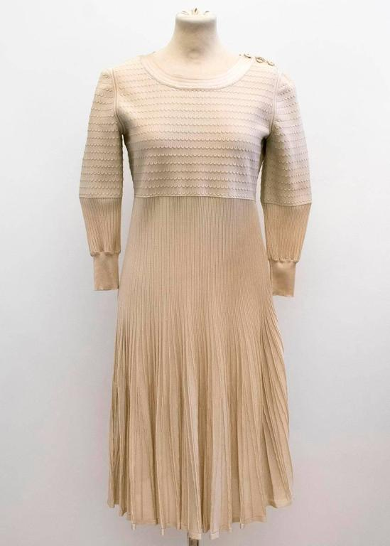 Beige Chanel Nude Pleated Dress For Sale