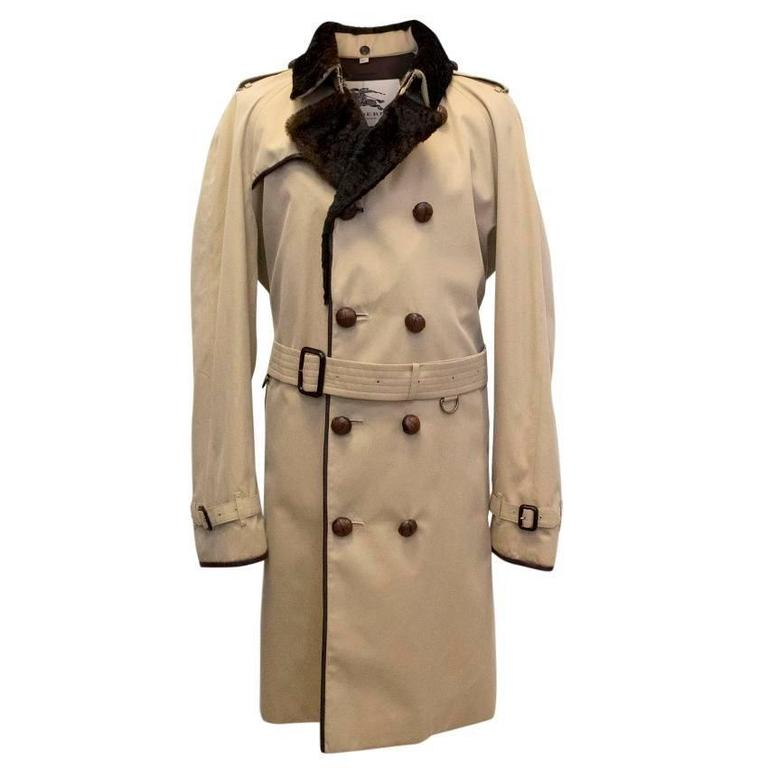 Burberry Kensington Trench Coat With Fur Lined Collar