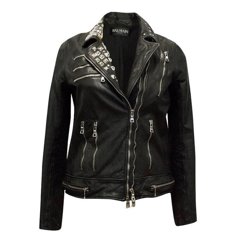 Balmain Studded Black Leather Jacket For Sale