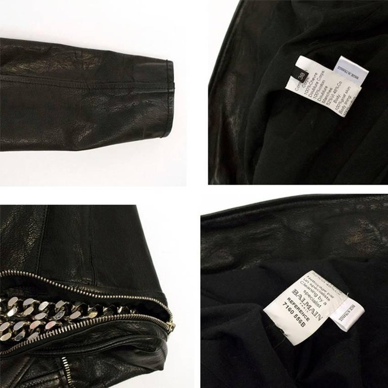 Black Leather Jacket With Silver Studs.  Made in France.  Fabric: 100% Goat Skin.   This item belongs to Caroline Stanbury of Ladies Of London.   UK SIZE: Size 38/S US SIZE: Size 6/ S  Approx Measurements:  Shoulders: 37cm  Length: 53cm Sleeve: 60cm