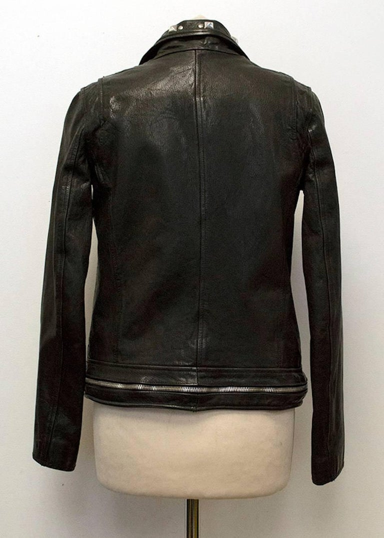 Balmain Studded Black Leather Jacket In New never worn Condition For Sale In London, GB