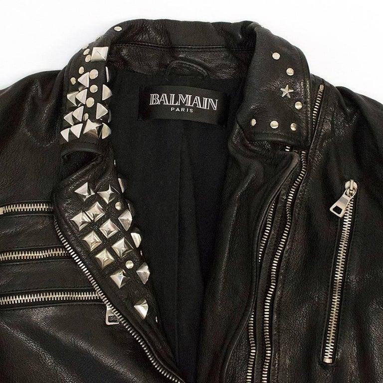 Women's Balmain Studded Black Leather Jacket For Sale