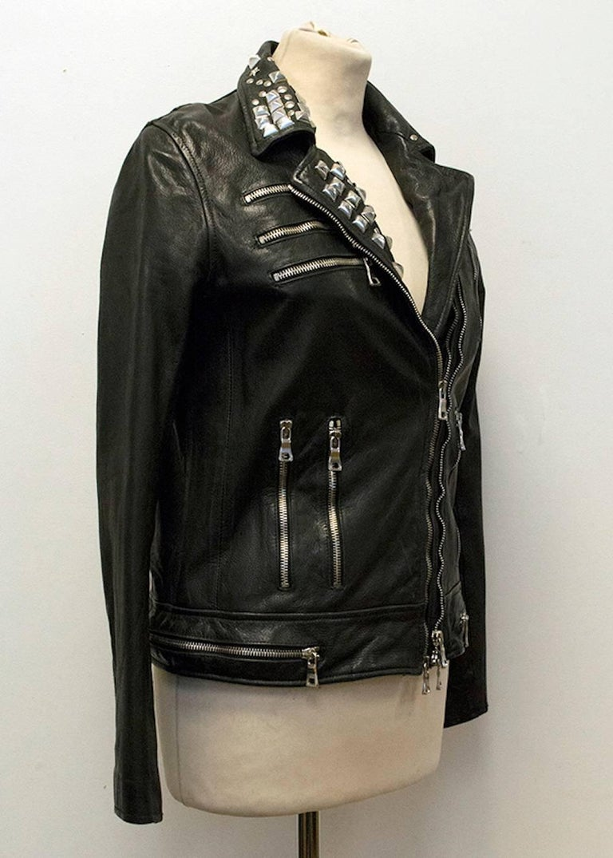 Balmain Studded Black Leather Jacket For Sale 1