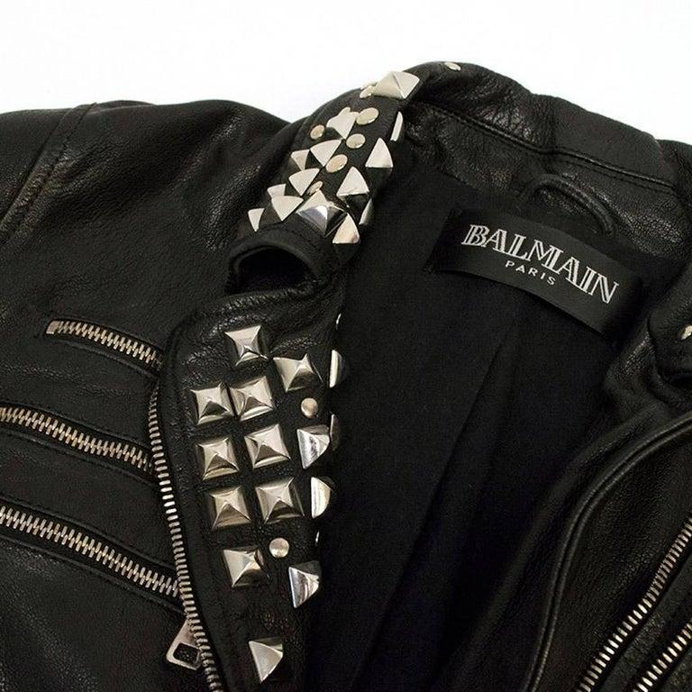 Balmain Studded Black Leather Jacket For Sale 2