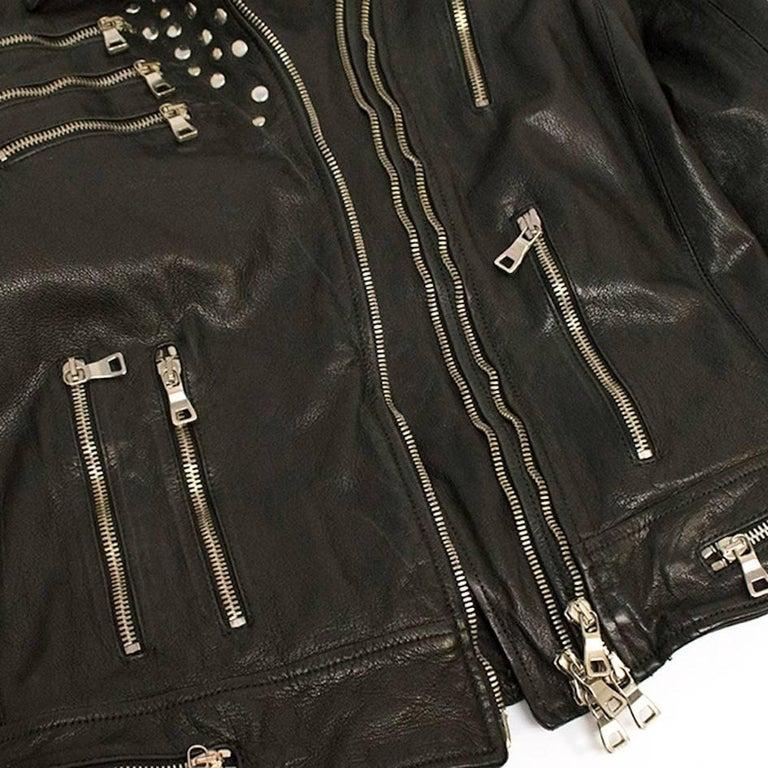 Balmain Studded Black Leather Jacket For Sale 3