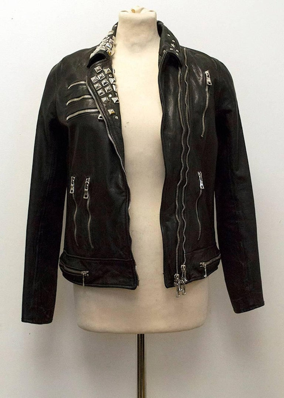 Balmain Studded Black Leather Jacket For Sale 4