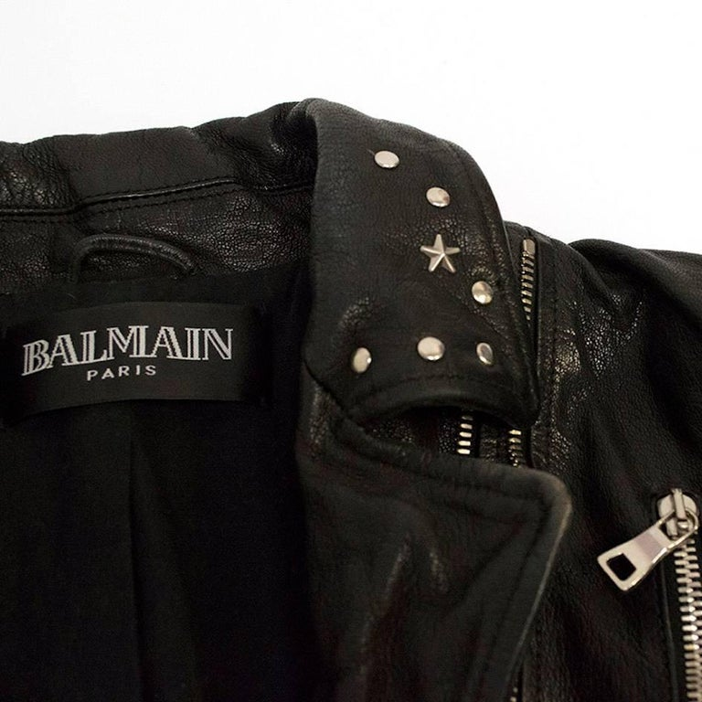 Balmain Studded Black Leather Jacket For Sale 5