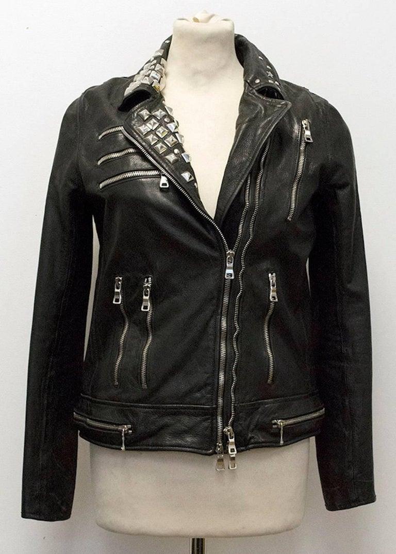 Balmain Studded Black Leather Jacket For Sale 6