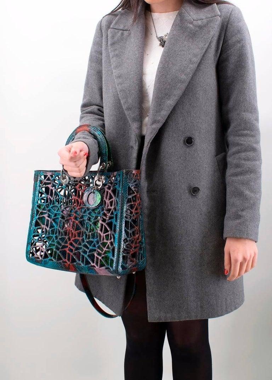 Black Christian Dior Python Diorissimo Cage Tote For Sale
