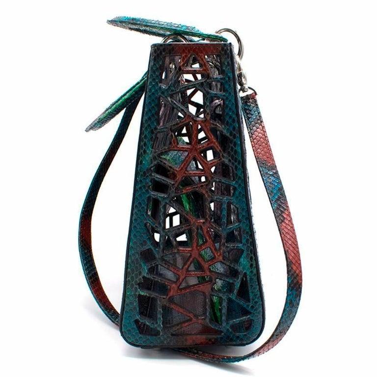 Women's Christian Dior Python Diorissimo Cage Tote For Sale