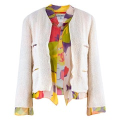 Chanel Cream Silk Chiffon Lined Tweed Jacket US 2