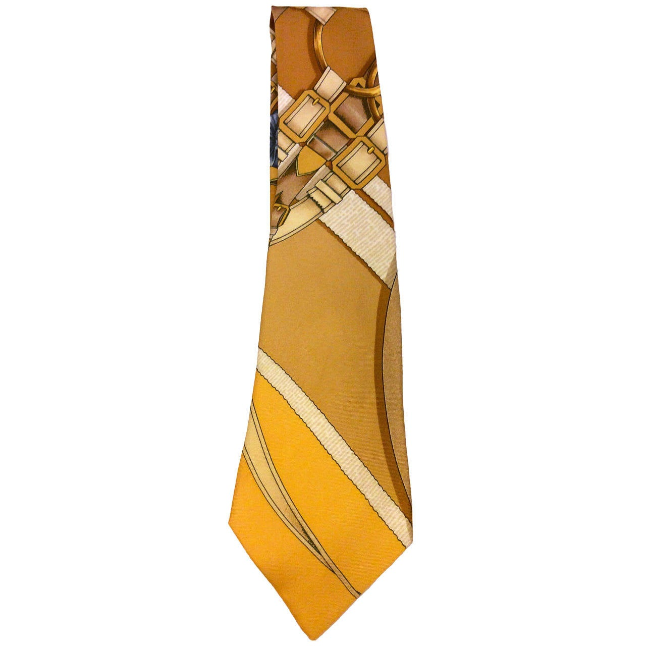 Hermes Paris Stunning Gold Brown Buckles Silk Tie For