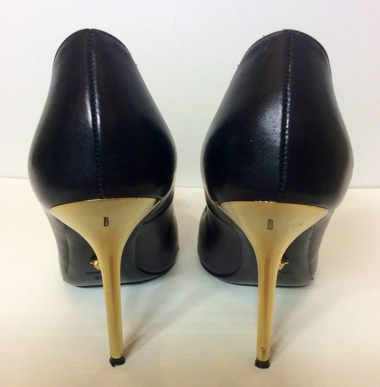 Versace Palazzo Stiletto Gold Medusa High Heels 39 1/2 At