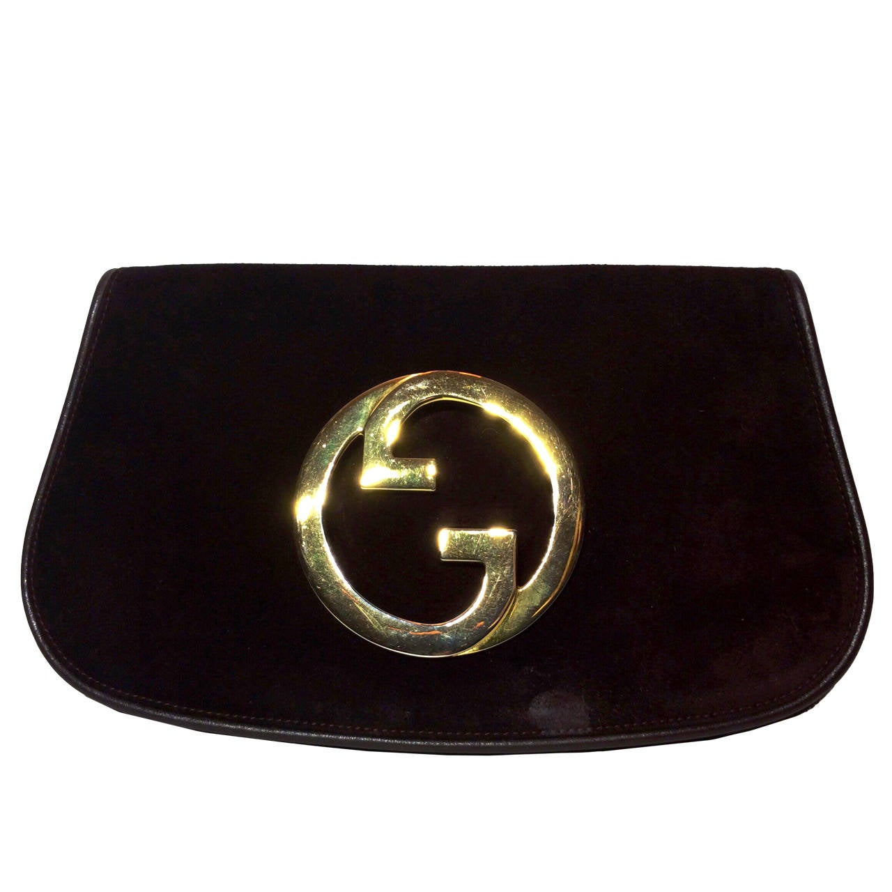 vintage 1973 gucci blondie chocolate suede flap clutch at 1stdibs