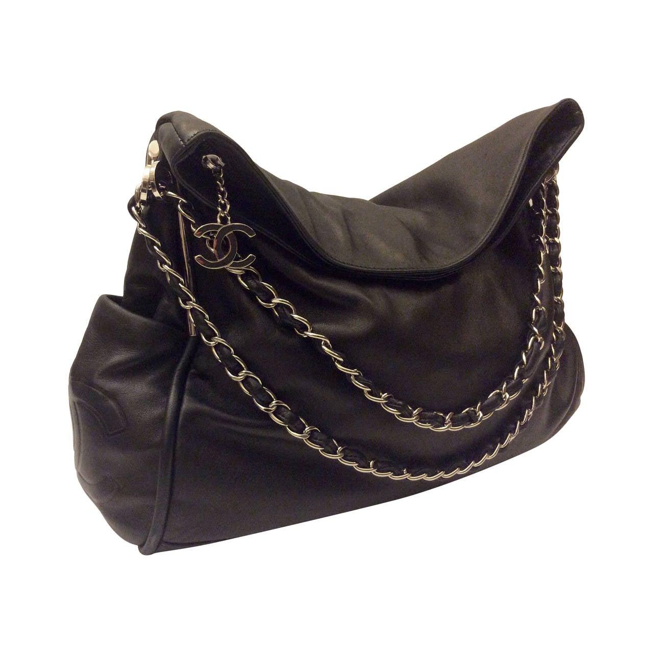 chanel large black super soft lambskin hobo handbag at 1stdibs