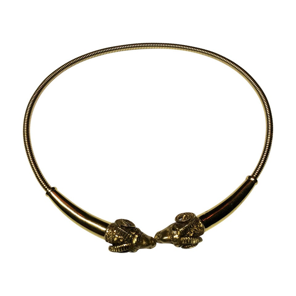 italian aries facing ram heads gold collar choker