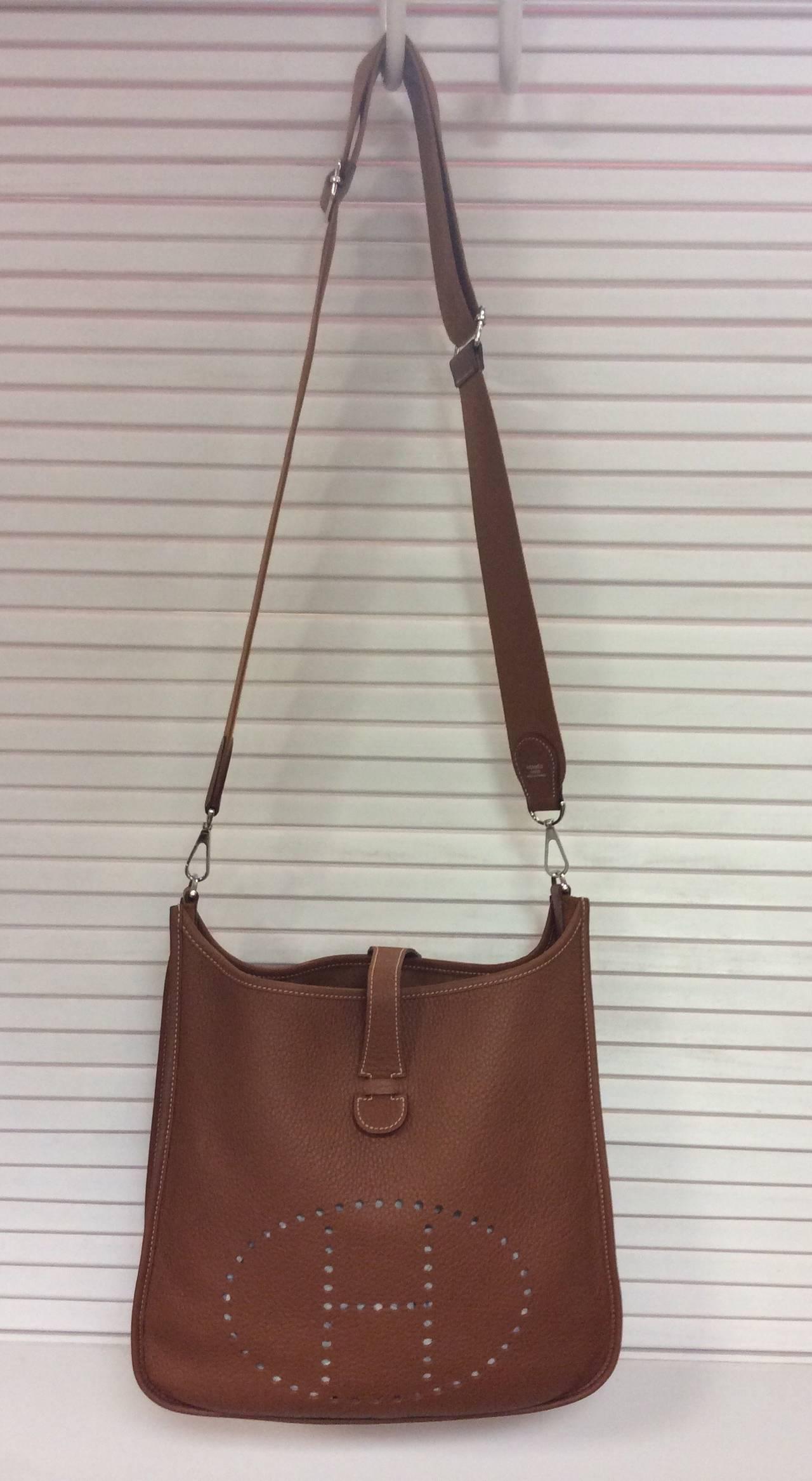 Hermes Evelyne III PM Gold Brown Crossbody Shoulder Handbag Mint ...