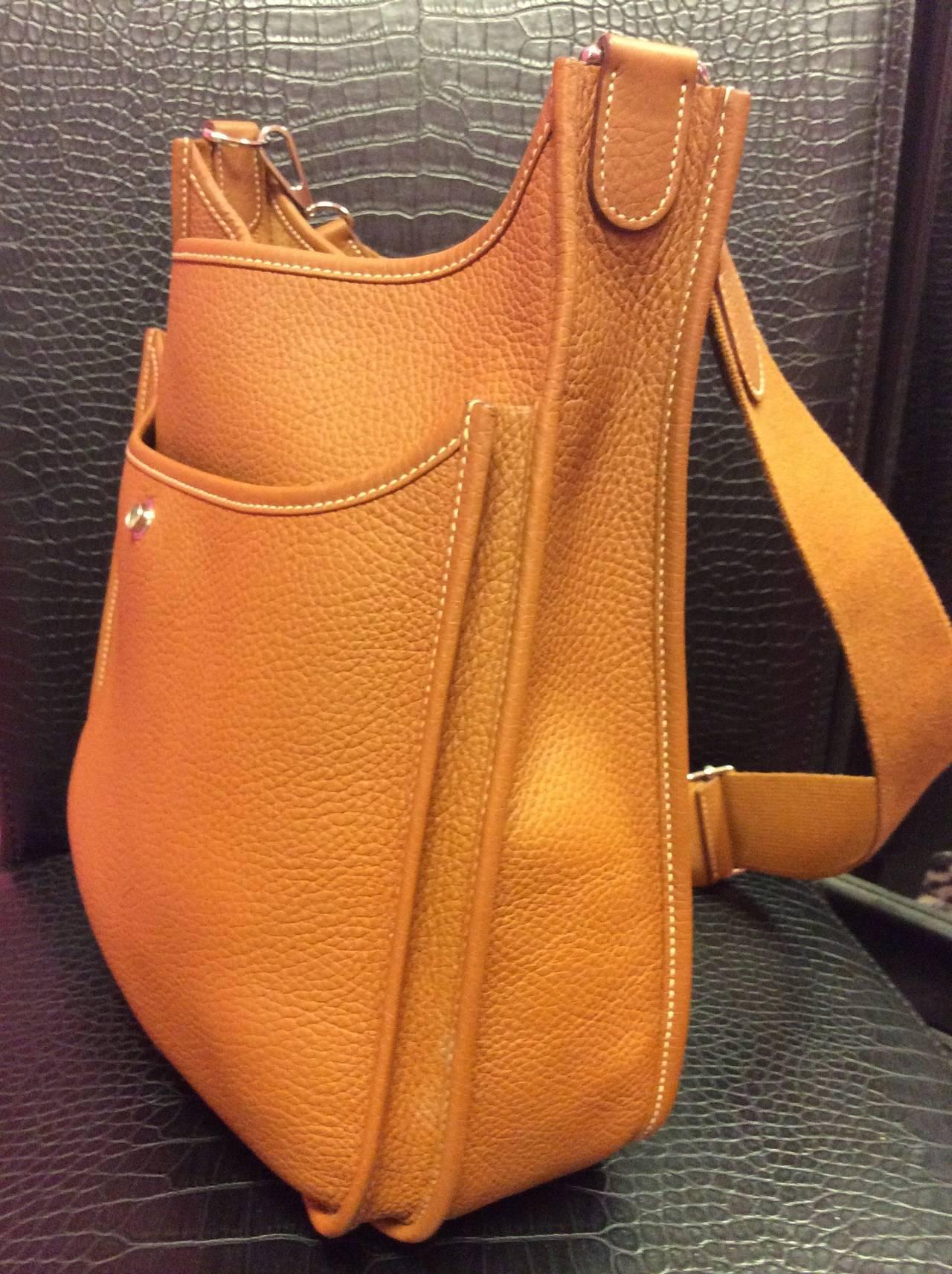 white hermes birkin - Hermes Evelyne III PM Gold Brown Crossbody Shoulder Handbag Mint ...
