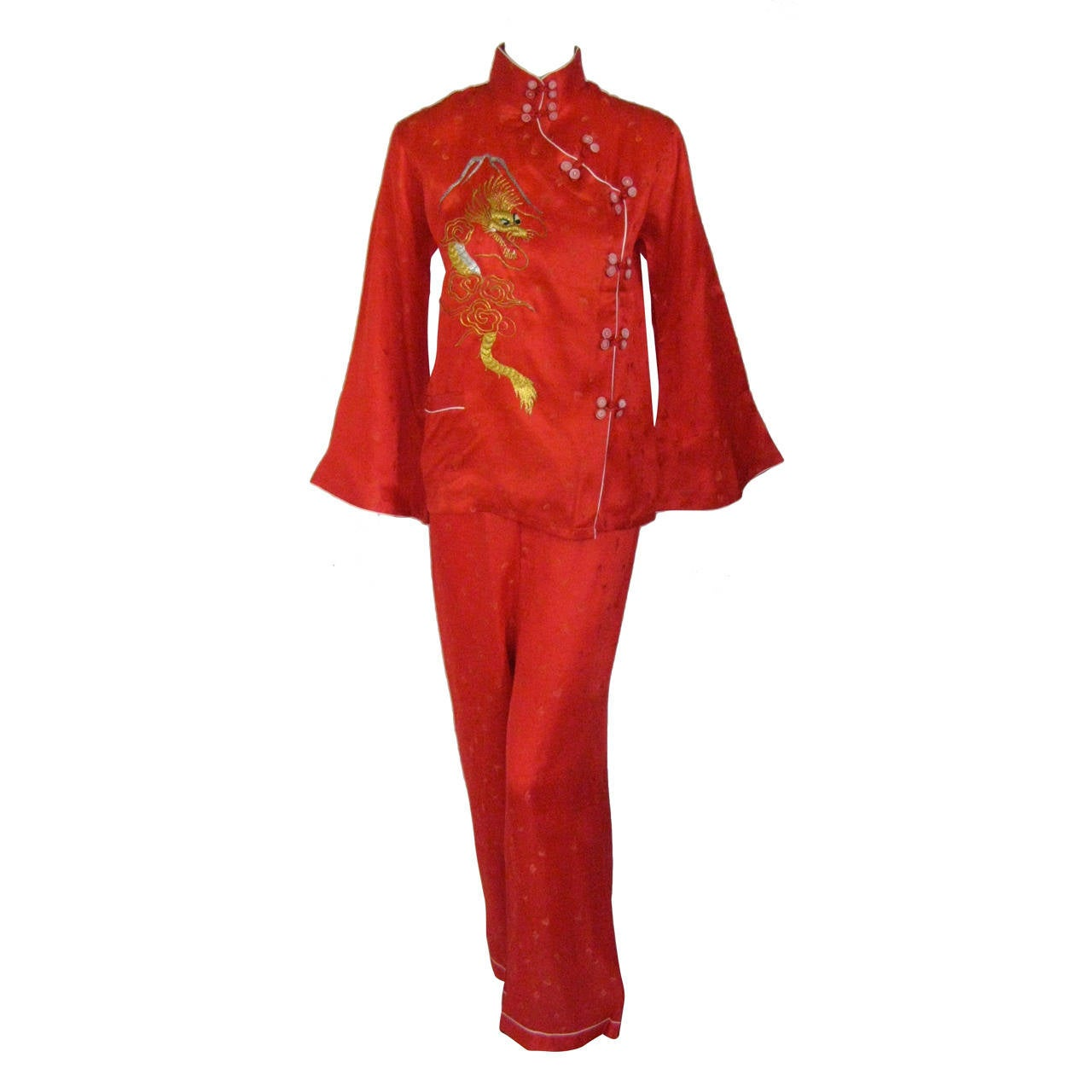 Mid Century Embroidered Silk Chinese Lounging Pajamas At