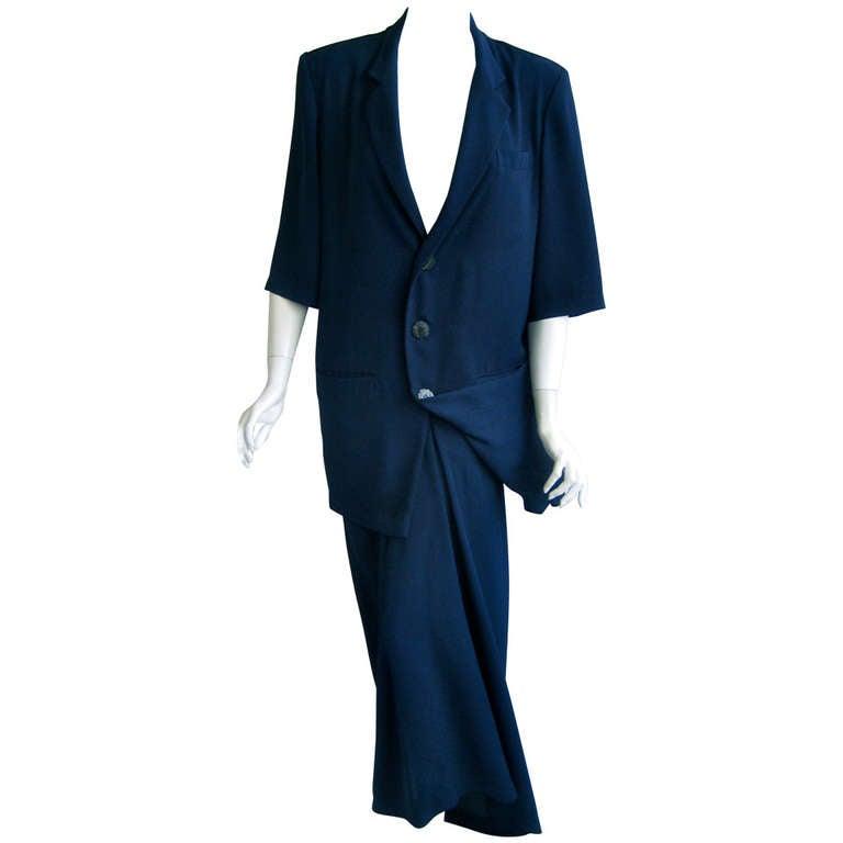 1980s yohji yammamoto blue skirt suit at 1stdibs