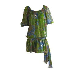 Yves Saint Laurent silk Metallic Peasant Dress