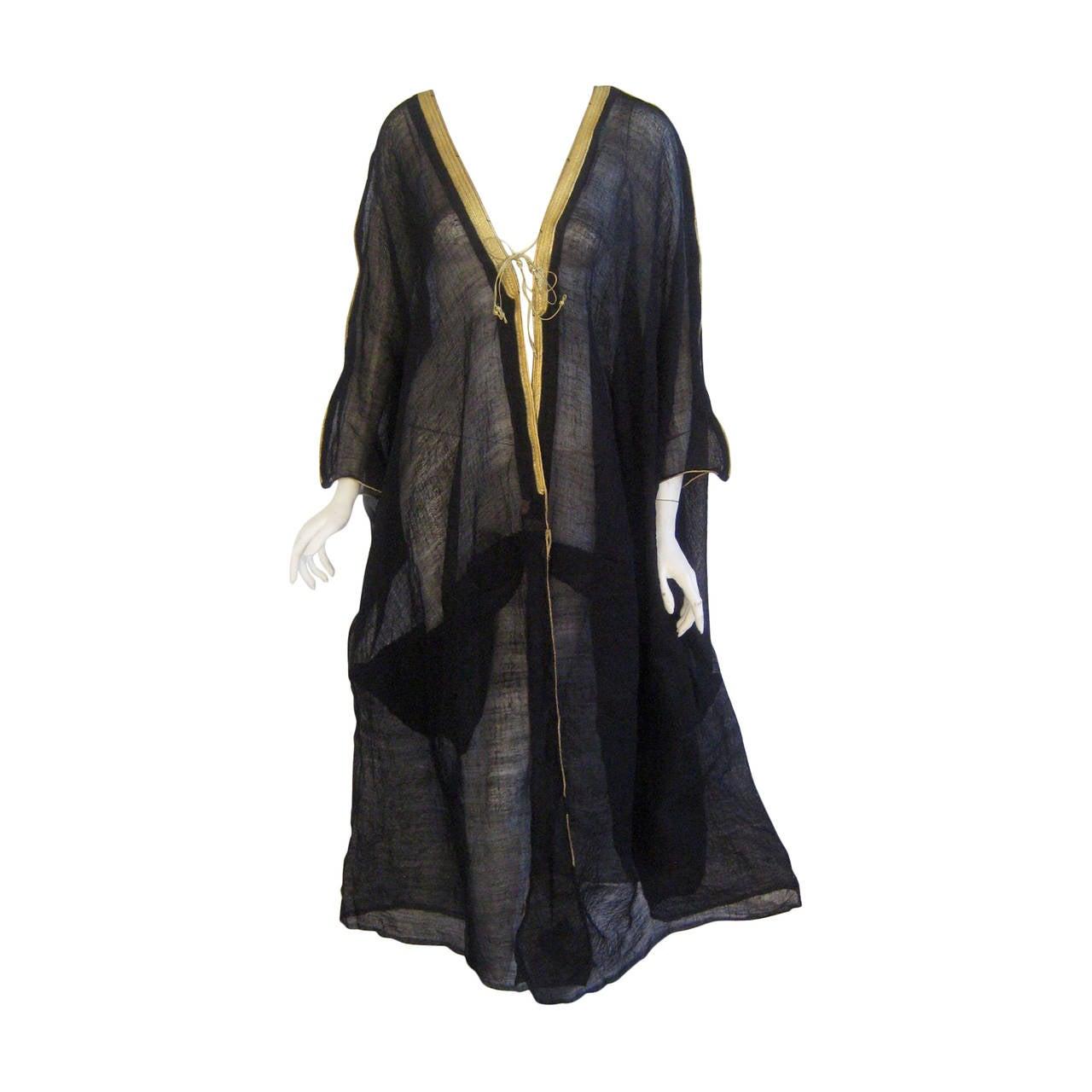 Mid Century Wool Silk Caftan Coat with Gold Metallic Trim ...