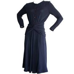 Vintage Chloe by Karl Lagerfeld 1930s Style Navy Blue Dress