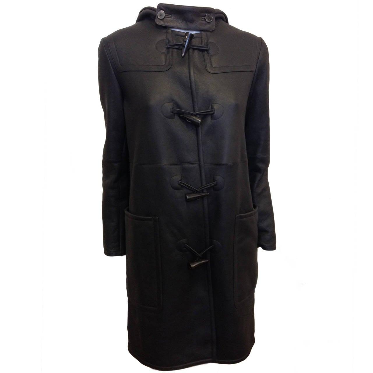 Jil Sander Black Shearling Coat with Hood at 1stdibs