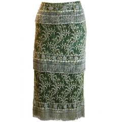 Dolce & Gabbana Olive Silk blend Skirt with Lace overlay & beaded fringe 42