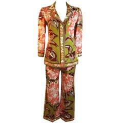 Emilio Pucci Olive Two Piece Pant Suit