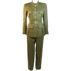 Chanel 96A Military Inspired Army Green Light Wool Jacket & Pants Suit with Belt