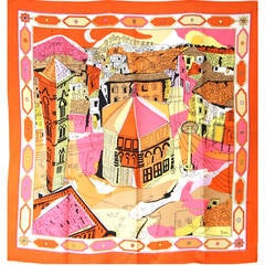 Emilio Pucci 1960s Orange & Black Silk Abstract Florentine Pallazzo Print