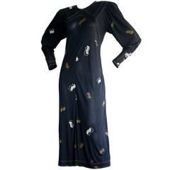 Vintage Jean Muir Navy Art-Deco 1930s Style Fan Dress w/ Lucite Buttons