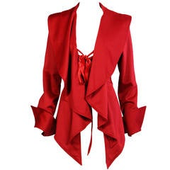 Gianfranco Ferre Red Cashmere Corset Style Jacket