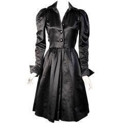 Yves Saint Laurent Numbered Haute Couture Black Satin Evening Dress