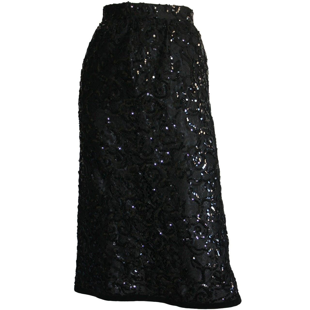 """Gorgeous Vintage Yves Saint Laurent """" Rive Gauche """" Black Sequin Skirt"""
