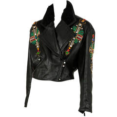 Gianni Versace Black Leather Jacket with Jewel Crosses