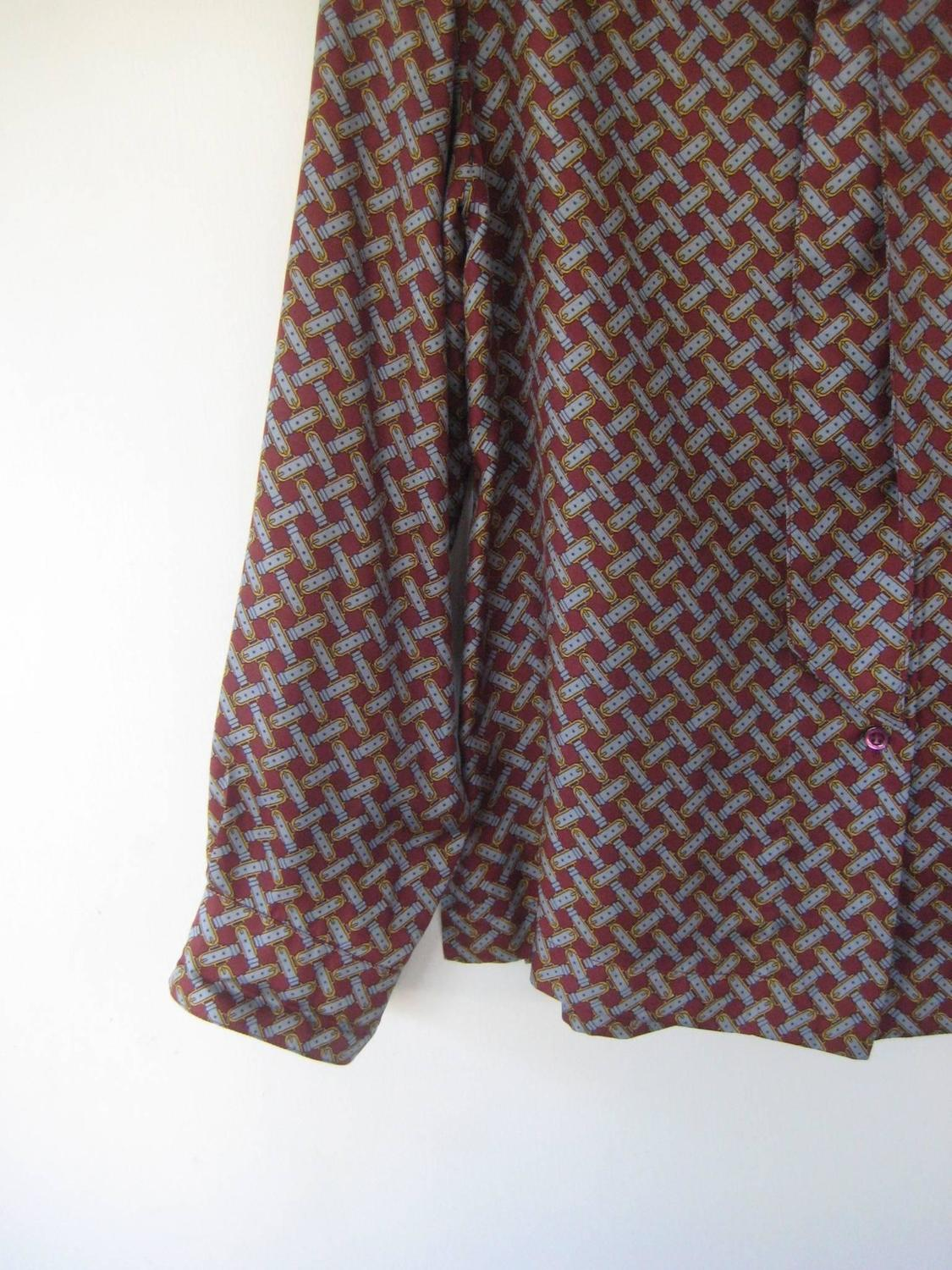 1960s hermes silk blosue with matching scarf tie for sale