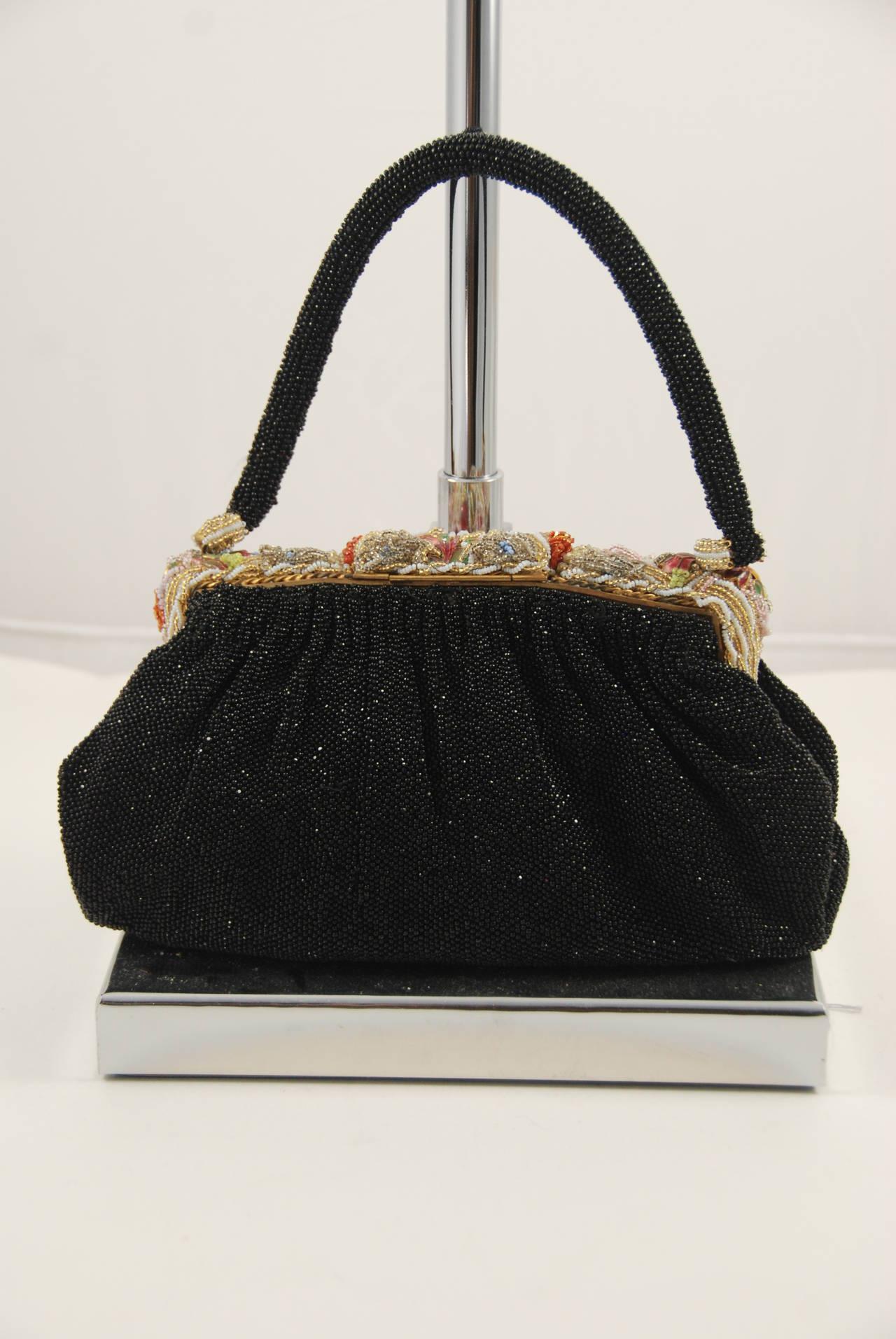 yves saint laurent bags uk - 1940s Black Beaded Evening Bag with Ornate Frame at 1stdibs