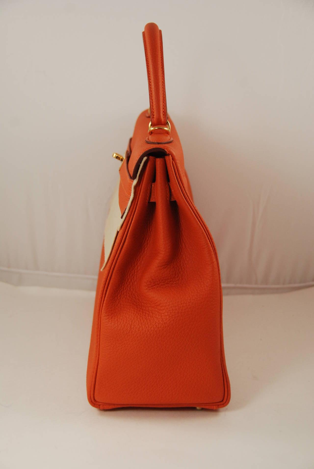 328ed26f0a 2014 Hermes 35 cm Orange Togo Leather Kelly Bag with Gold Hardware .