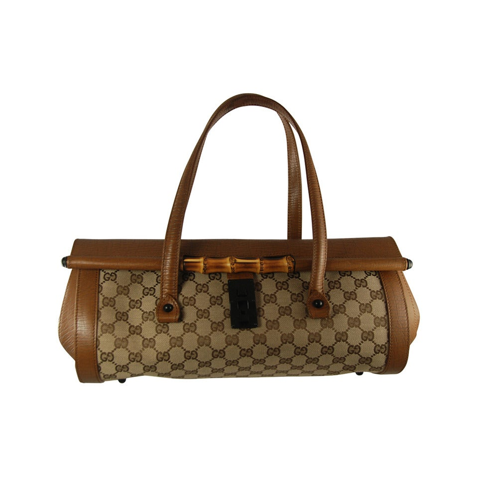 Gucci Brown Leather and Classic Monogram Canvas Bag with ...