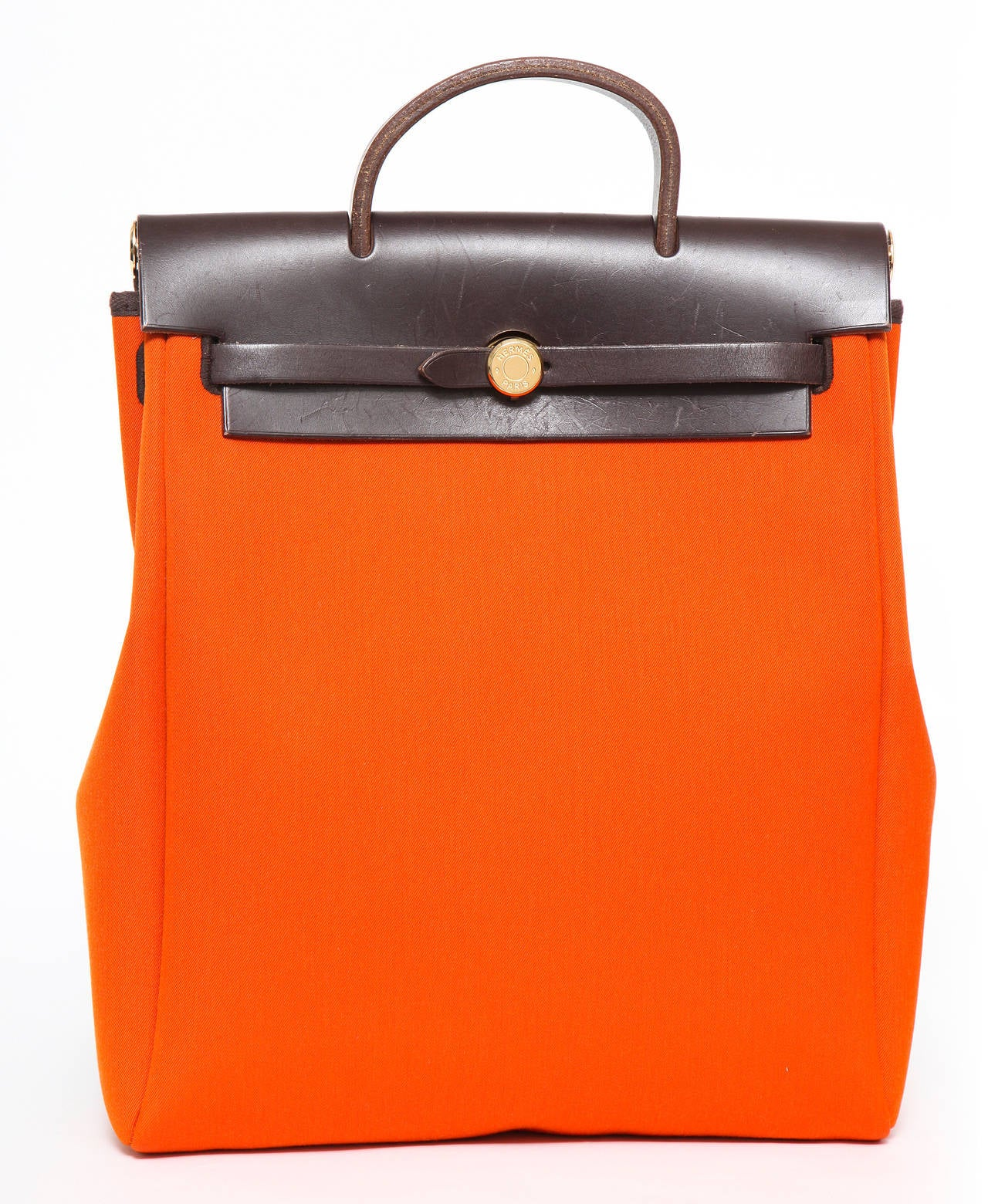 Hermes Herbag Chocolate Vache Leather Canvas Backpack MM Two ...