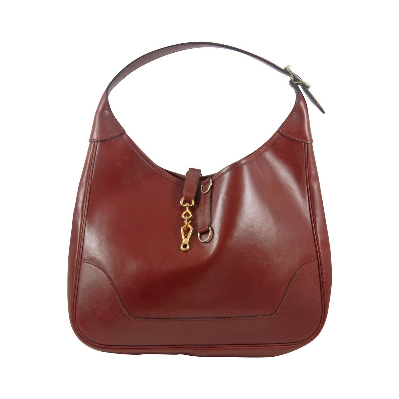 Vintage Hermes Burgundy Trim Bag in Box Leather 30 cm For Sale at ...